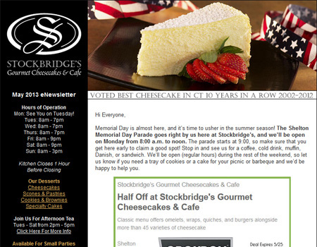 Stockbridge's Gourmet Cheesecakes & Café eNewsletter