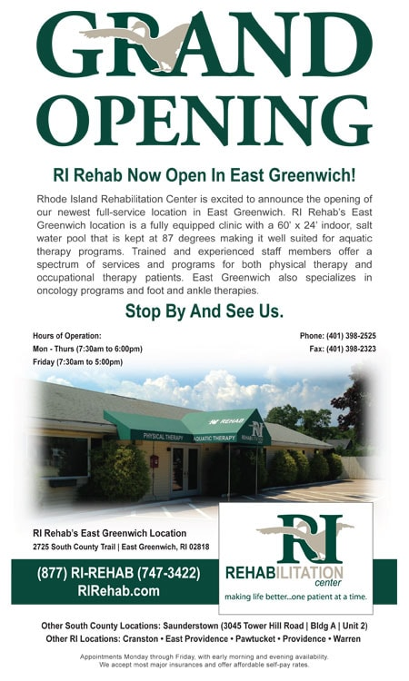 RI Rehab East Greenwich Grand Opening Ad