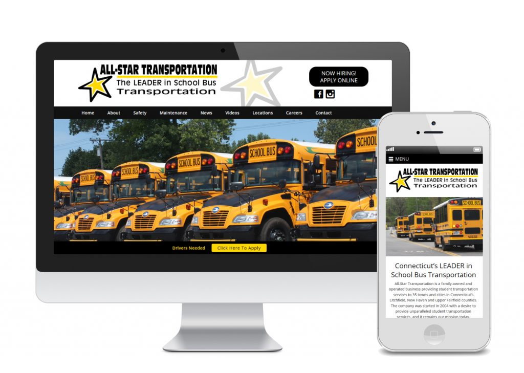 Waterbury Website Design for All-Star Transportation | SkyeLine Studio